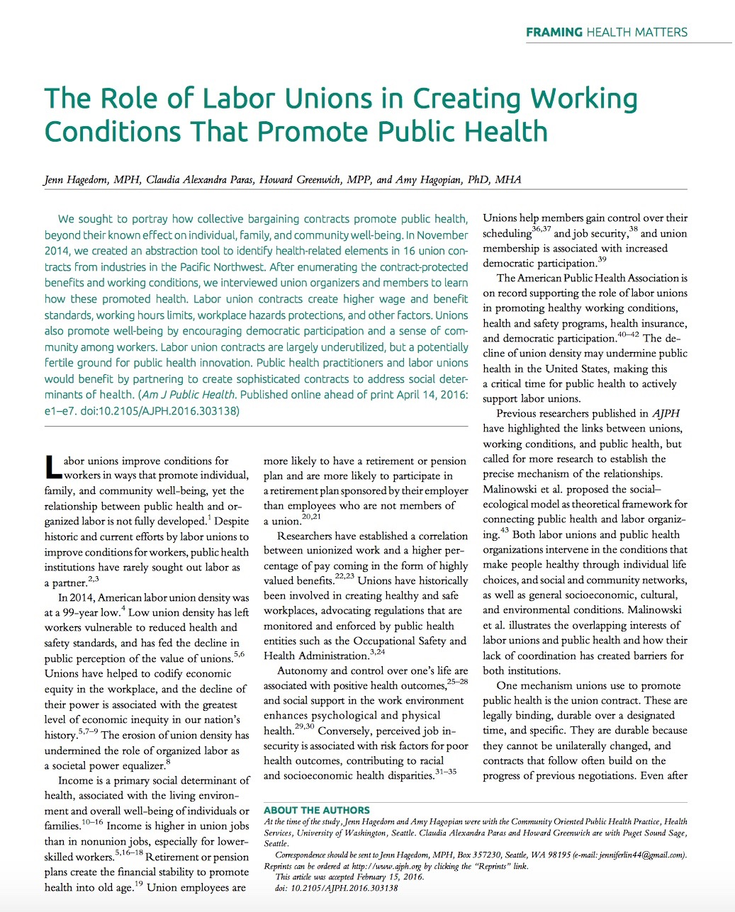 The Role of Labor Unions in Creating Working Conditions That Promote Public Health
