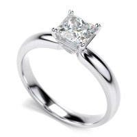 14K White Gold Diamond Princess Cut Solitaire Engagement