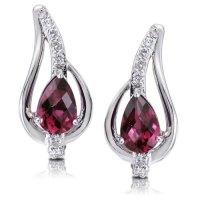 14K White Gold Rhodolite Garnet & Diamond Earrings ...