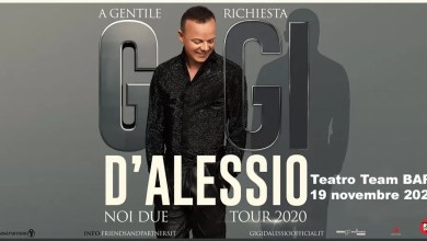 "Photo of [EVENTO POSTICIPATO] ""Noi due tour 2020"" di GIGI D'ALESSIO  – ""Teatro Team"" BARI, 19 novembre 2020"