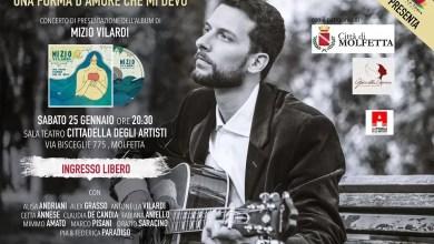 """Photo of [Music Live] MIZIO VILARDI presenta il suo primo album """"UNA FORMA D'AMORE CHE MI DEVO"""" @ Teatro della cittadella degli Artisti"""" MOLFETTA (BA) 25 gennaio 2020"""