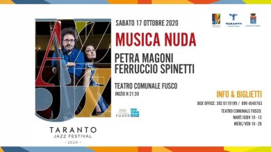"""Photo of TARANTO JAZZ FESTIVAL 2020 – """"Musica Nuda"""" con Petra Magoni e Ferruccio Spinetti @ """"Teatro Fusco"""" Taranto  17.10.20"""