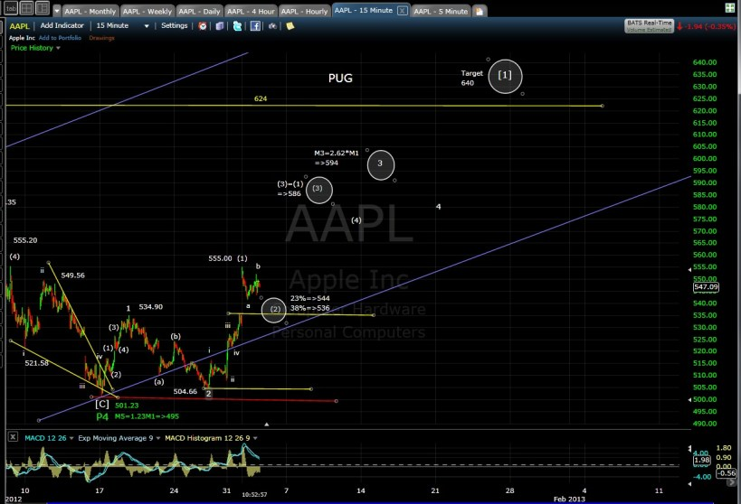 PUG AAPL 15-min mid-day 1-3-13