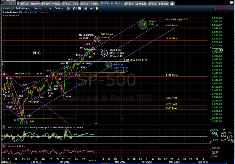 PUG SP-500 60-min chart EOD 1-30-13