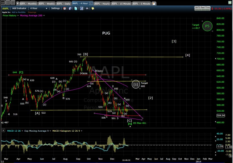 PUG SP-AAPL 4-hr mid-day 1-14-13