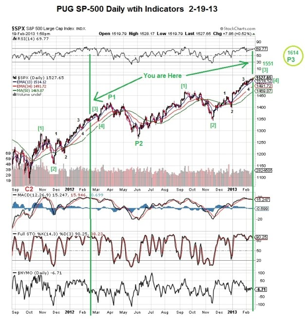 PUG SP-500 Daily with Indicators 2-19-13