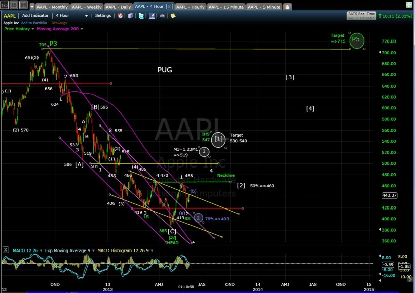 PUG AAPL 4-hr chart mid-day 5-20-13