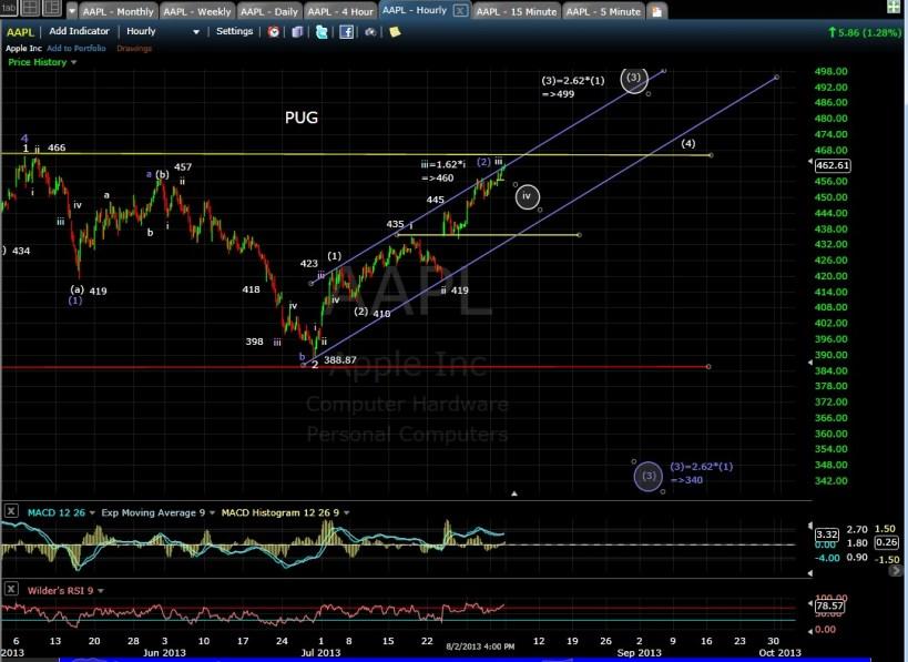 PUG AAPL 60min chart EOD 8-2-13