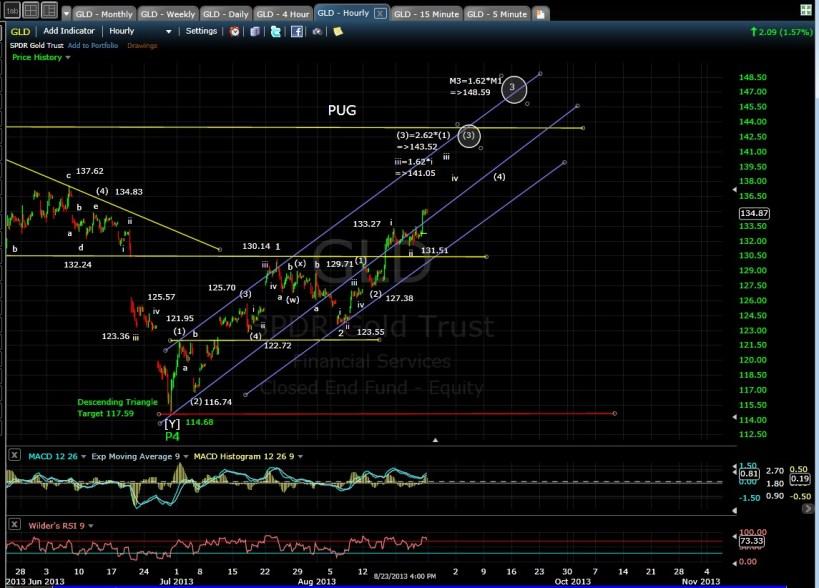 PUG GLD 60min chart EOD 8-24-13