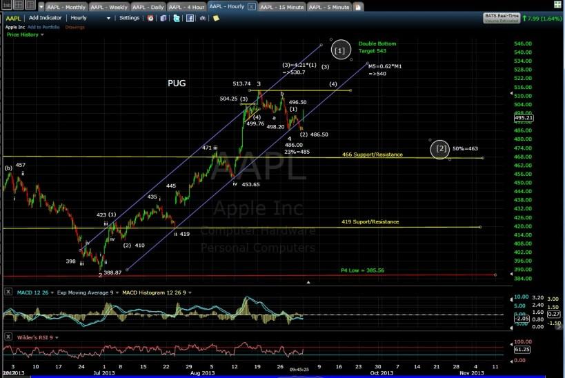 PUG AAPL 60-min chart Morn 9-3-13