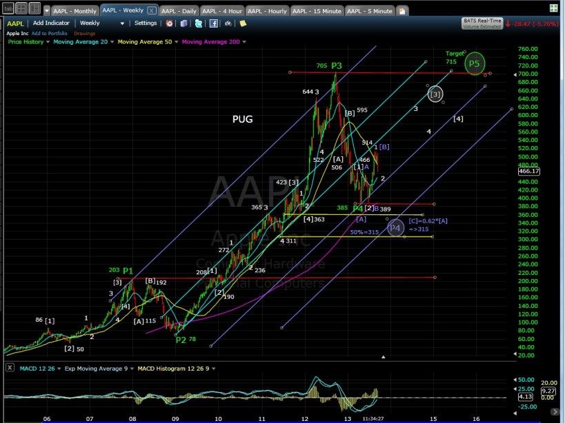 PUG AAPL weekly chart MD 9-11-13