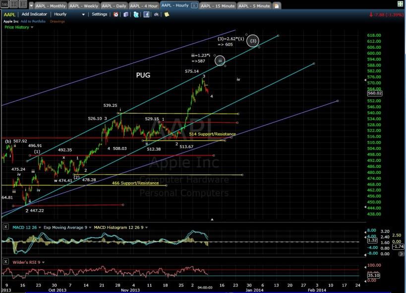 PUG AAPL 60-min chart EOD 12-6-13