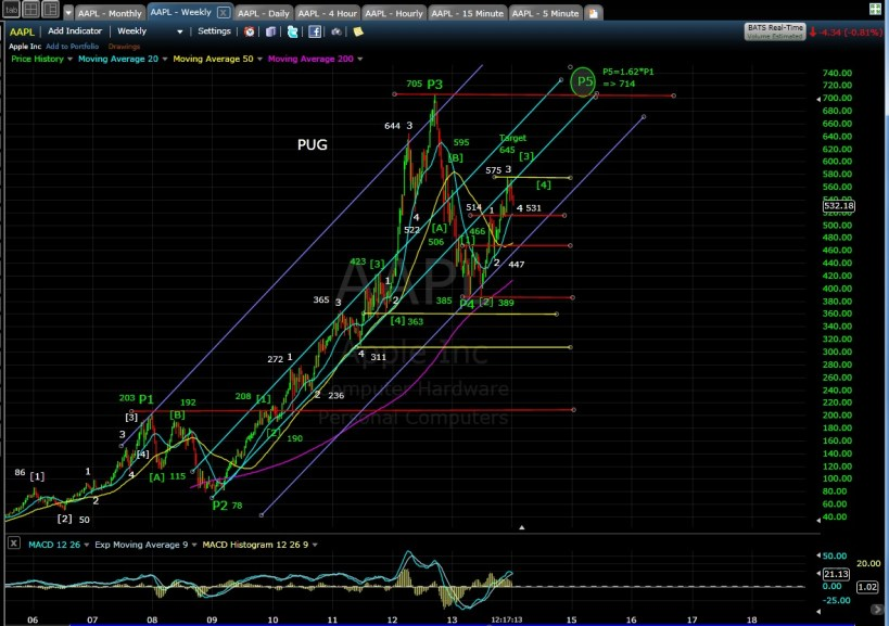 PUG AAPL weekly chart MD 1-10-14