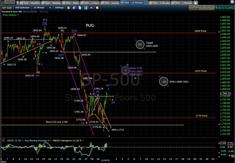 PUG SP-500 15-min chart MD 1-30-14
