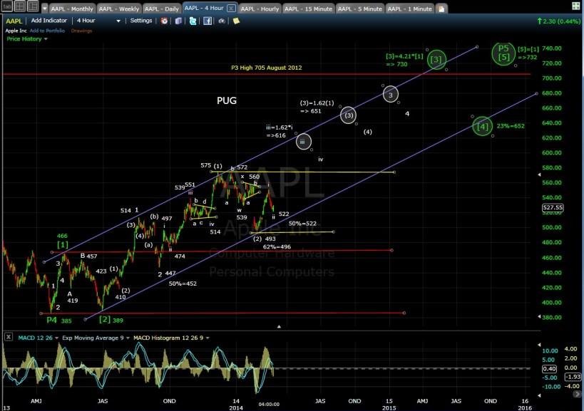 PUG AAPL 4-hr chart EOD 2-24-14