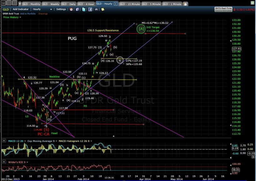 PUG GLD 60-min chart MD 2-26-14