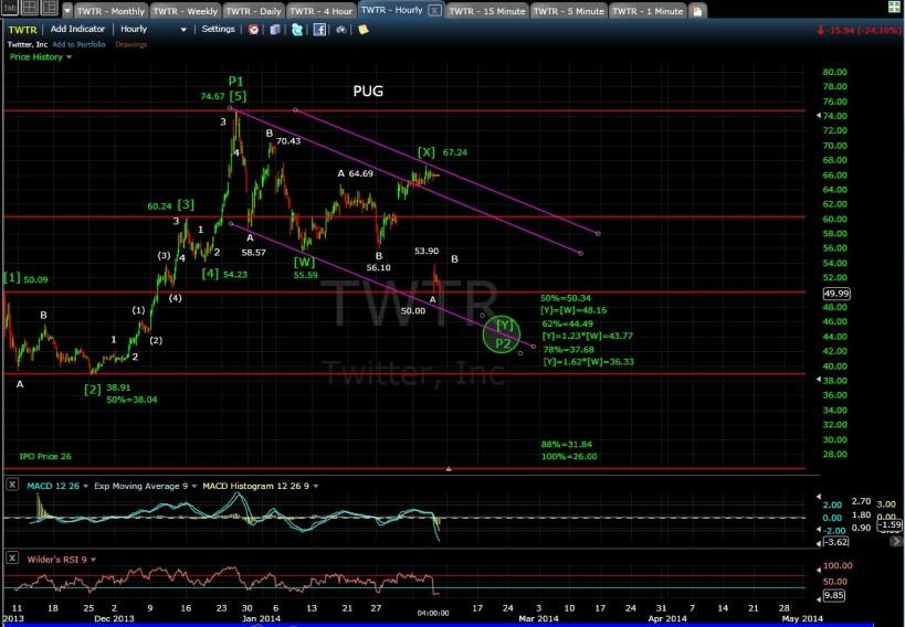 PUG TWTR 60min chart EOD 2-6-14
