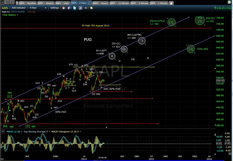 PUG AAPL 4-hr chart EOD 3-10-14