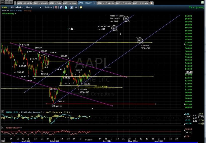PUG AAPL 60-min chart EOD 3-11-14
