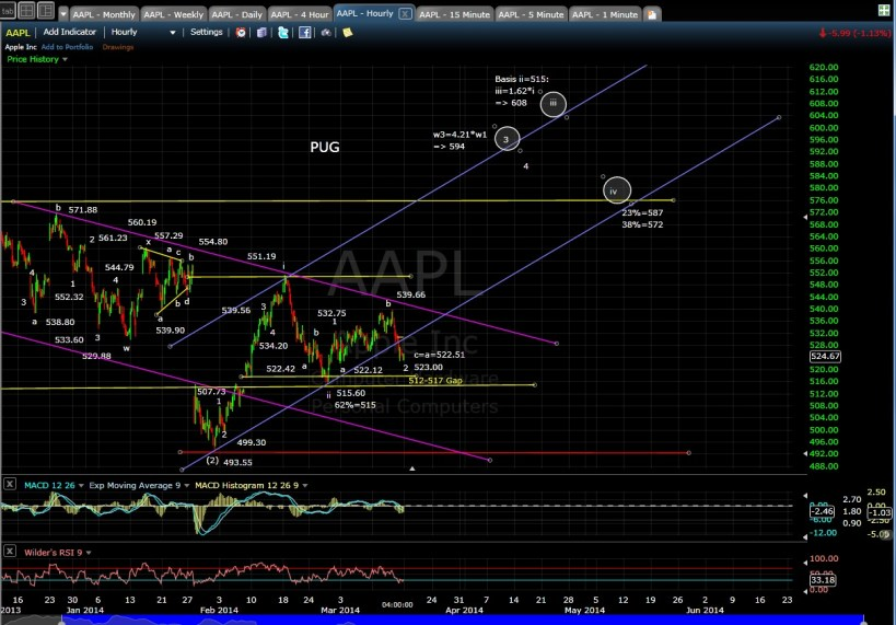 PUG AAPL 60-min chart EOD 3-14-14