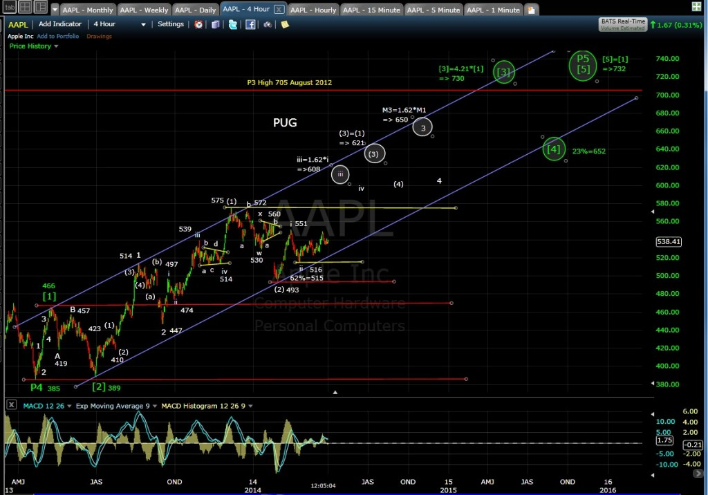 PUG AAPL 4-hr Chart MD 4-1-14