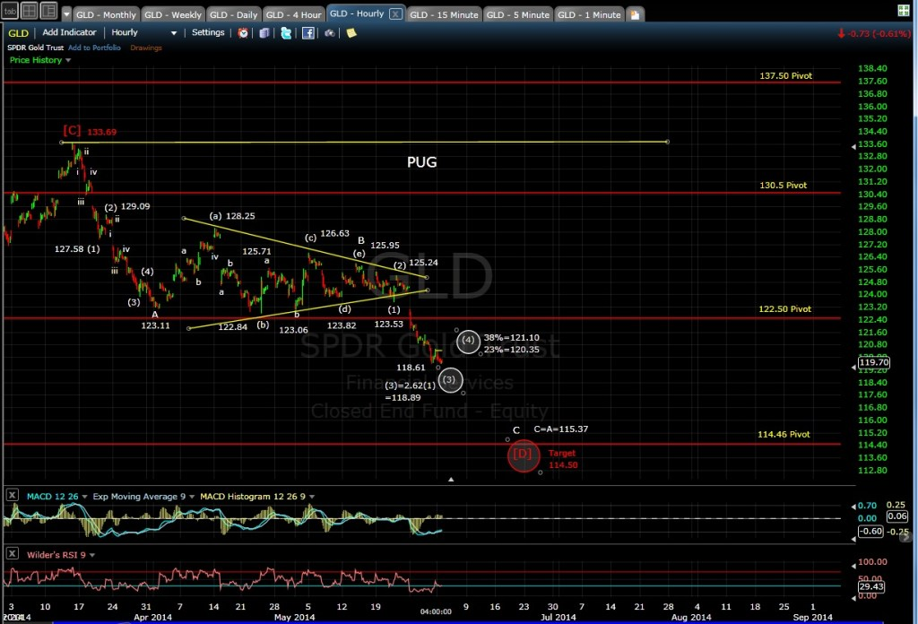 PUG GLD hourly chart EOD 6-2-14