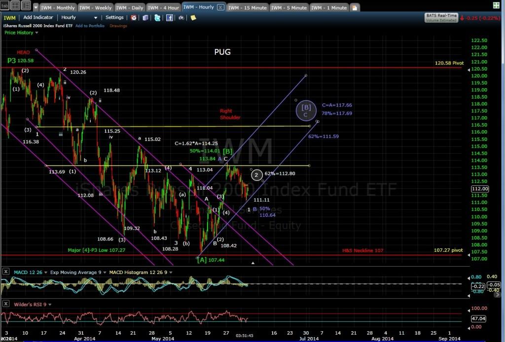 PUG IWM 60-min chart 6-3-14 EOD