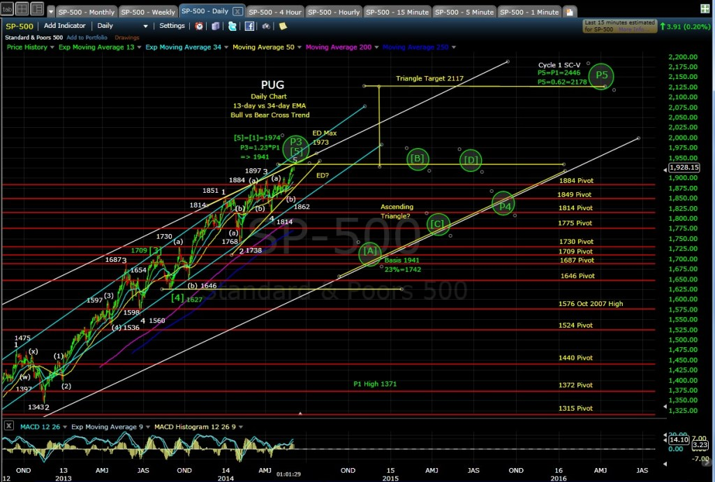 PUG SP-500 daily chart MD 6-4-14