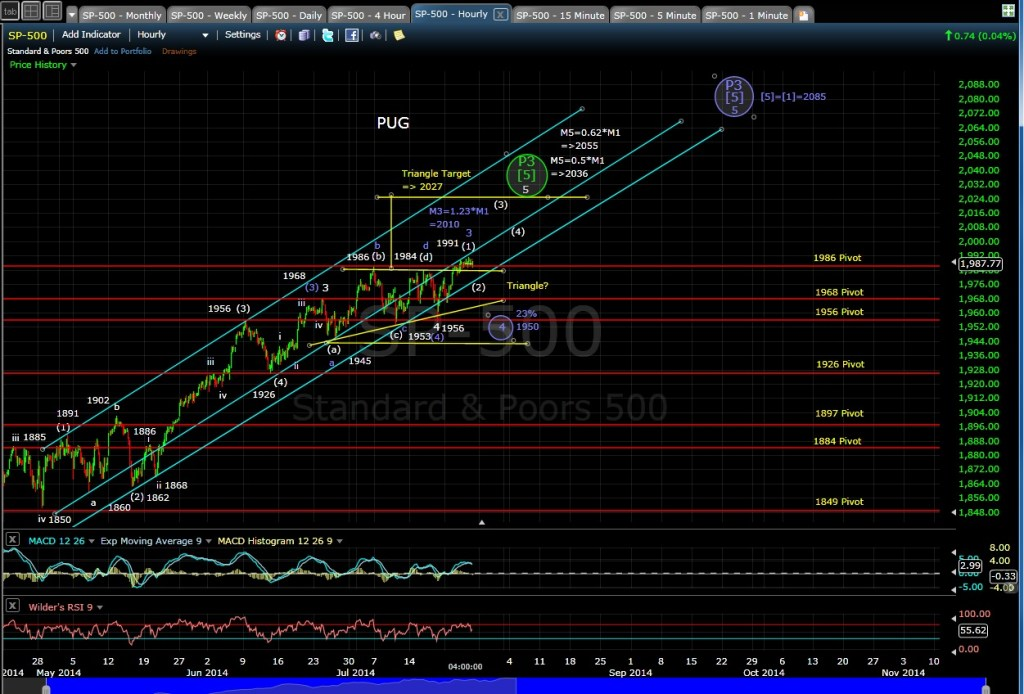 PUG SP-500 60-min chart EOD 7-24-14