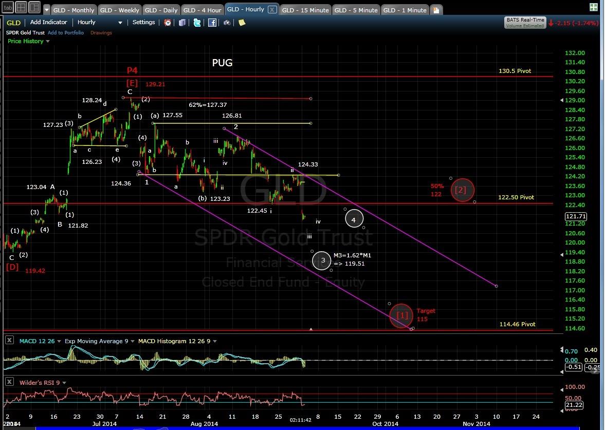 PUG GLD 60-min chart EOD 9-2-14