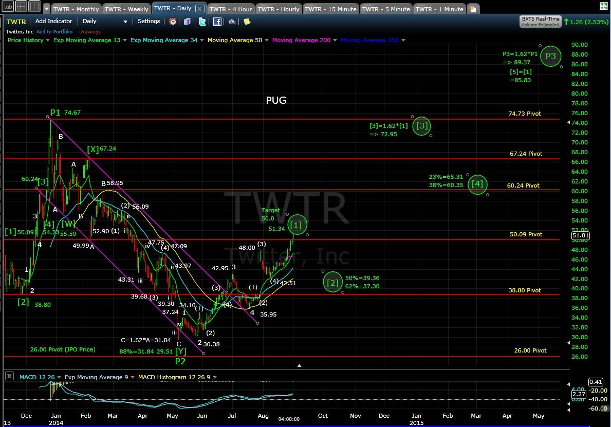 PUG TWTR daily chart EOD 9-2-14