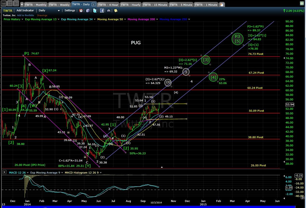 PUG TWTR daily chart EOD 10-3-14