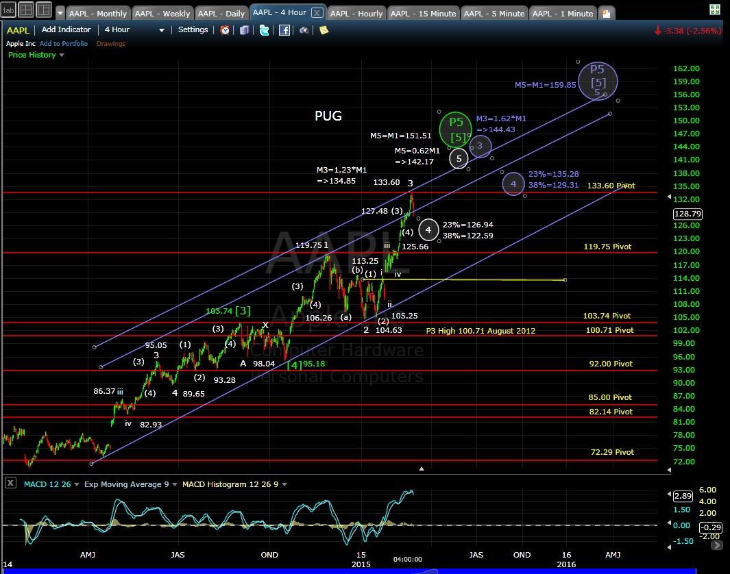 PUG AAPL 4-hr chart EOD 2-25-15