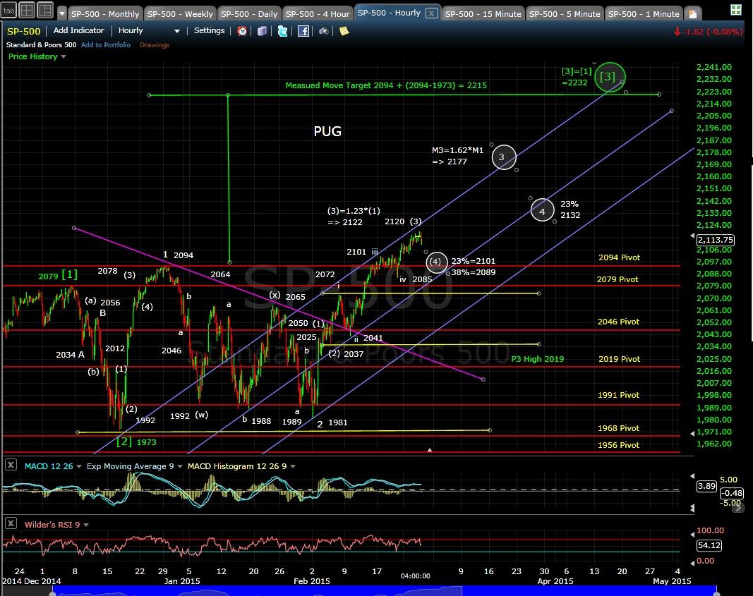 PUG SP-500 60-min chart EOD 2-25-15