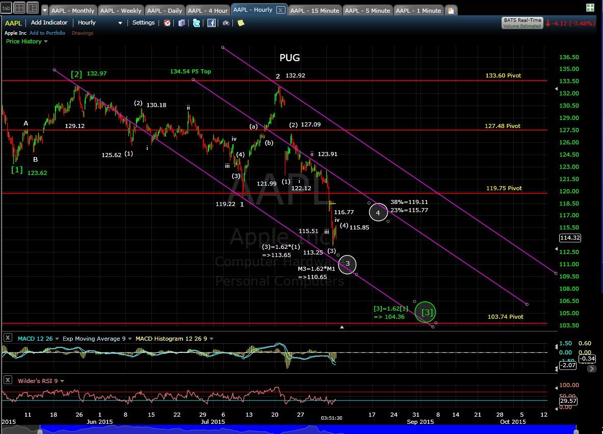 PUG AAPL 60-min chart EOD 8-4-15