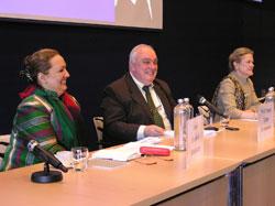Hon. Shukria Barakzai, Member of Wolesi Jirga (Parliament) of the Islamic Republic of Afghanistan, Prof. Paolo Cotta-Ramusino, and Amb. Robin Raphel, former US Assistant Secretary of State for South Asia