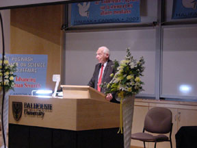 Sir Joseph Rotblat addresses the conference