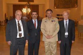 (L-R) Prof. Paolo Cotta-Ramusino, Prof. Amitabh Mattoo, President Pervez Musharraf, Lt.Gen. (ret.) Talat Masood