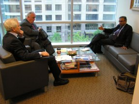Joe Cirincione, President of the Ploughshares Fund, with Paolo Cotta-Ramusino and Jayantha Dhanapala, April 29, 2009