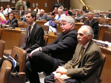Director Eric Bednarski, Producer Kent Martin and Michael Cassandra of UN Office of Disarmament Affairs, at to the screening of The Strangest Dream at the United Nations, May 4, 2009
