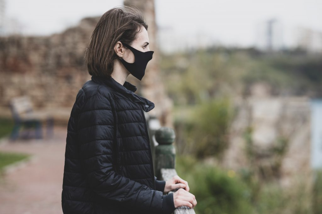 woman wearing wholesale face mask