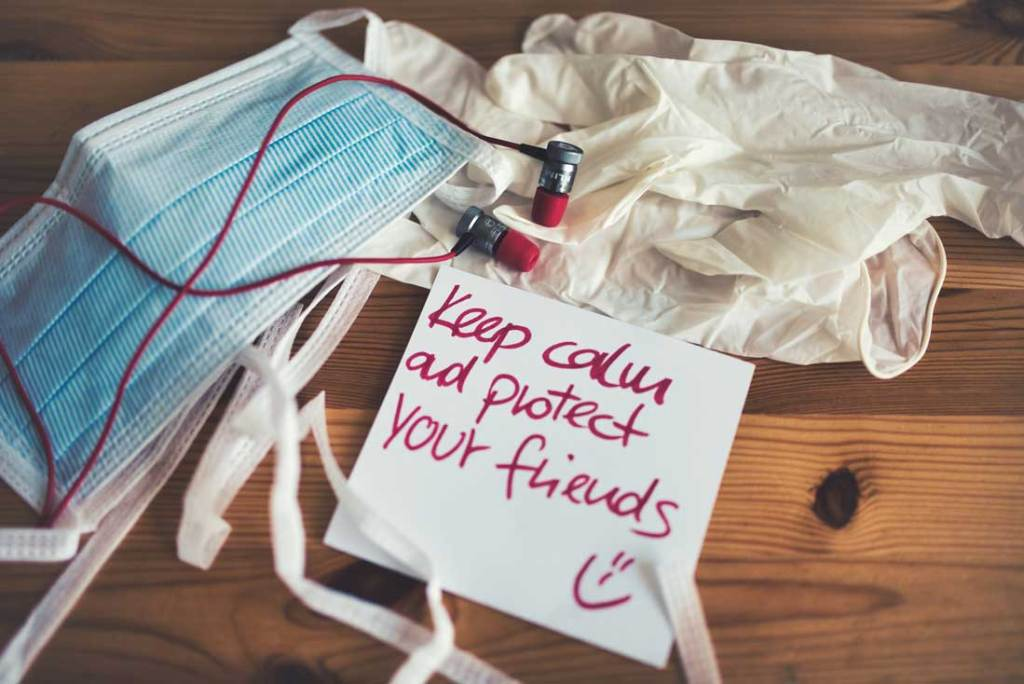 wholesale face masks and gloves with the words keep calm and protect your friends