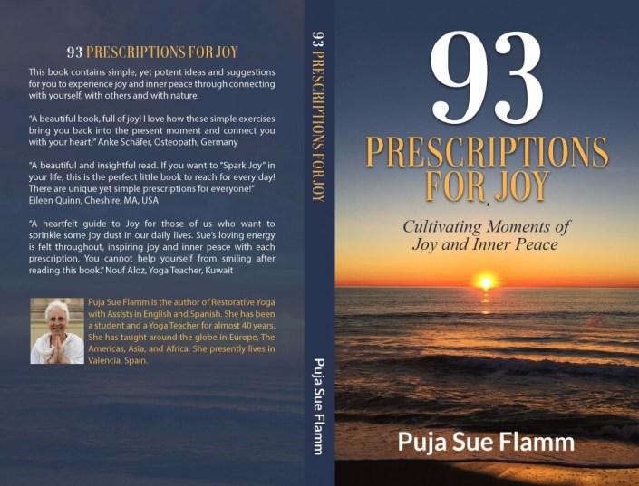 Portada y contraportada del libro escrito por Sue Flamm titulado 93 prescriptions for joy