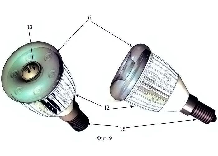 общий вида российской светодиодной лампы в разных проекциях