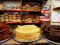 From left to right: vellam mittai (cane jaggery), cheeni mittai (cane sugar) and karupatti mittai (palm jaggery) on display in the store counter