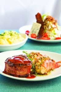 Filet Mignon & Crab Meat stuffed prawns