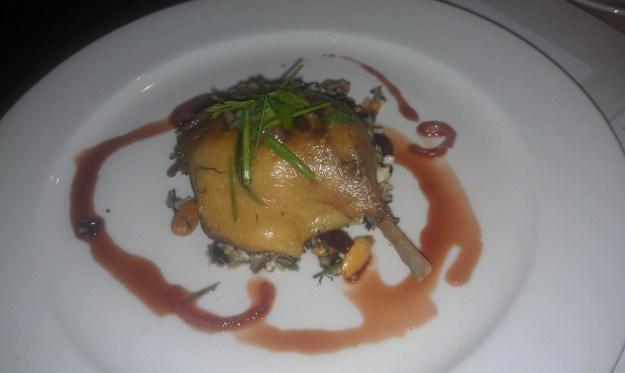 Pig & Pickle's Braised Duck leg on Kool wild rice & quinoa