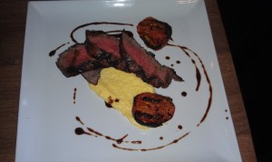 Grilled Flat Iron Steak with Truffle Parmigiano Reggiano Polenta