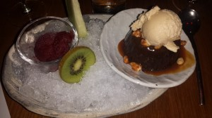 Roka Akor's Warm toffee cake with peanut butter ice cream and house made sorbets