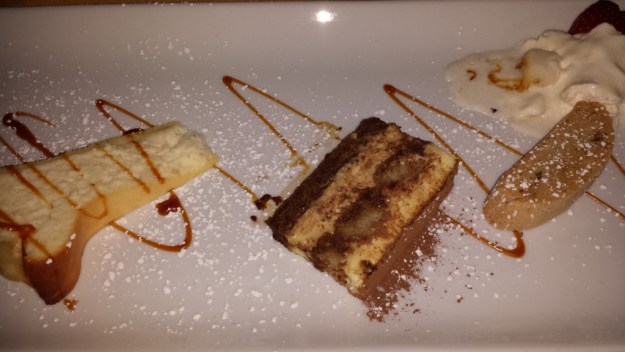 Trio of desserts including Italian Cheesecake, Tiramisu & Biscotti Di Noci